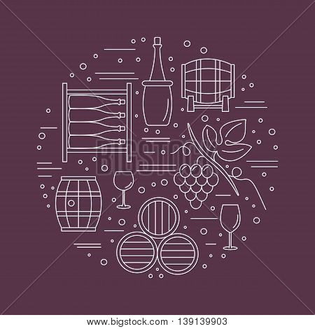 Winery icons arranged in circle composition isolated on red background. Winemaking, wine tasting template for banner, flyer, t shirt, book cover. Winery symbols in line style. raster illustration.