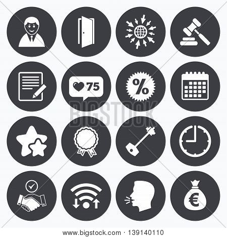 Calendar, wifi and clock symbols. Like counter, stars symbols. Real estate, auction icons. Home key, discount and door signs. Business agent, award medal symbols. Talking head, go to web symbols. Vector