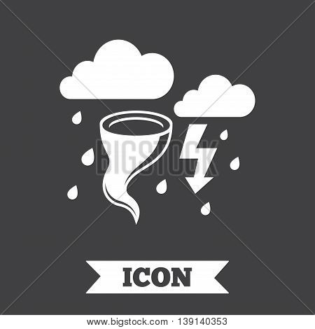 Storm bad weather sign icon. Clouds with thunderstorm. Gale hurricane symbol. Destruction and disaster from wind. Insurance symbol. Graphic design element. Flat hurricane symbol on dark background. Vector