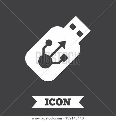 Usb sign icon. Usb flash drive stick symbol. Graphic design element. Flat usb symbol on dark background. Vector