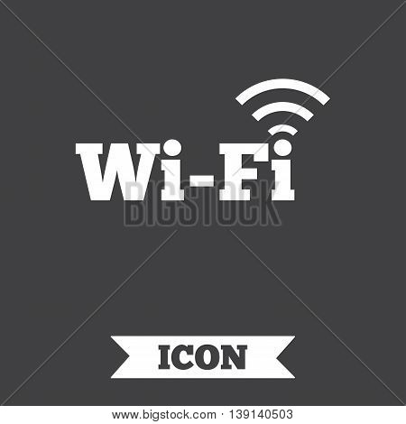 Free wifi sign. Wifi symbol. Wireless Network icon. Wifi zone. Graphic design element. Flat wi-fi symbol on dark background. Vector