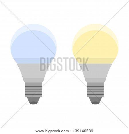 Led bulbs. Flat color icon light bulb. Energy saving lamp. Vector illustration