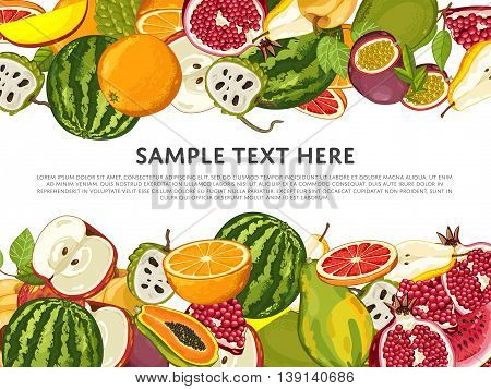 Tropical fruits mix, isolated fruits on white background. Fresh fruits top view. Healthy fruits food on table top view. Bunch of fruits. Vegans food. Fruits background. Ingredients for cooking fruits salad.