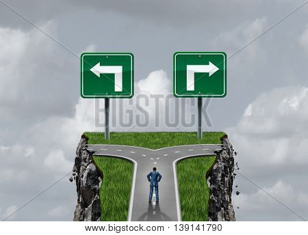 Difficult options and challenging choices business concept as a businessman standing at a crossroad path leading to two dangerous cliffs with3D illustration elements.