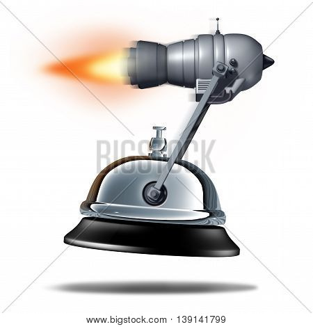 Fast service symbol as a service bell being transported by a rocket jet engine as a quick customer support business symbol as a 3D illustration of rapid hospitality.