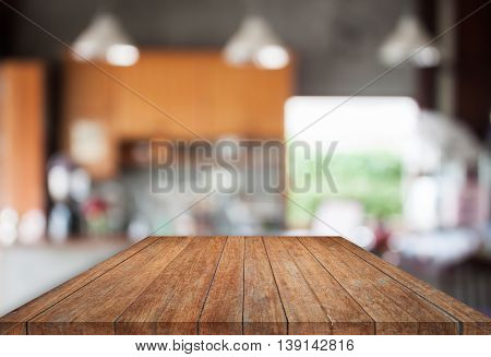 Brown top wooden with abstract blur coffee shop background, stock photo