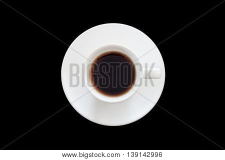 Top view of cup of fresh espresso on black background, stock photo