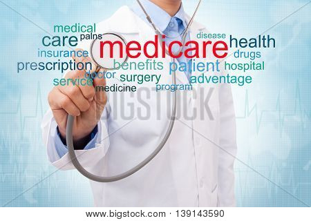Doctor with medicare word cloud. medical concept