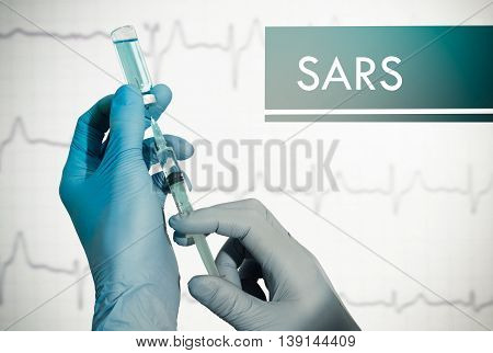 Stop SARS (atypical pneumonia). Syringe is filled with injection. Syringe and vaccine