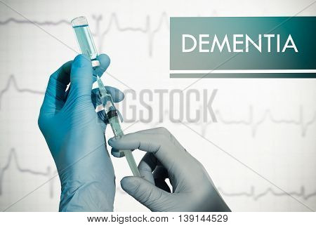 Stop dementia. Syringe is filled with injection. Syringe and vaccine