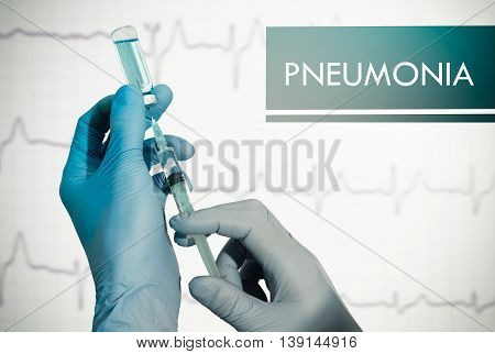 Stop pneumonia. Syringe is filled with injection. Syringe and vaccine