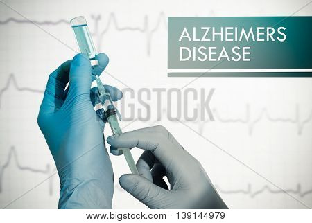 Stop alzheimers disease. Syringe is filled with injection. Syringe and vaccine