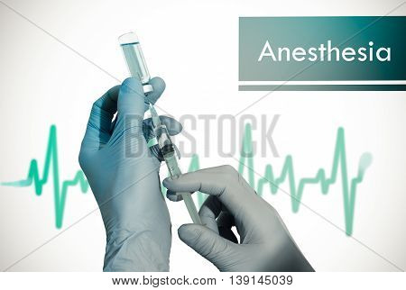 Anesthesia. Syringe is filled with injection. Syringe and vaccine. Medical concept.