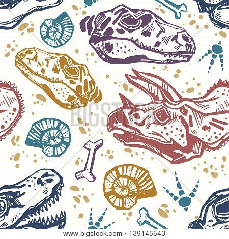 Sketchy fossil seamless pattern with dinosaur bones. Tile in retro 1980's and early 1990's style for textiles and fabrics, upholstery, wrapping paper and wallpapers. Vector illustration.