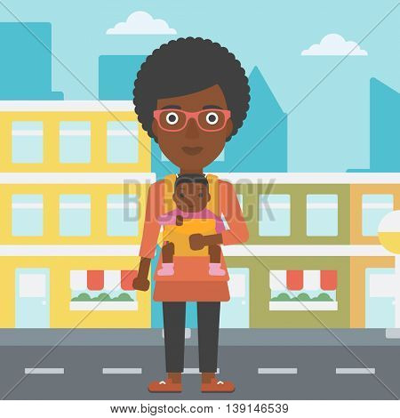 An african-american mother carrying son in sling. Mother with baby in sling walking in the city street. Young mother carrying a newborn in sling. Vector flat design illustration. Square layout.