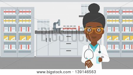 An african-american young female pharmacist with stetoscope wearing medical gown and holding in hands a glass of water and pills in the laboratory. Vector flat design illustration. Horizontal layout.