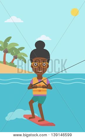 An african-american sports woman wakeboarding on the sea. Wakeboarder making tricks. Woman studying wakeboarding. Young woman riding wakeboard. Vector flat design illustration. Vertical layout.