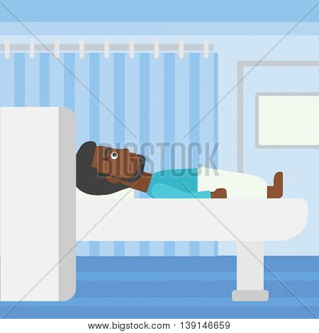 An african-american young man with the beard undergoes a magnetic resonance imaging scan test at hospital room. Vector flat design illustration. Square layout.