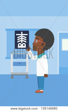 An african-american doctor with the beard looking at a skeleton radiograph in the medical office. Vector flat design illustration. Vertical layout.