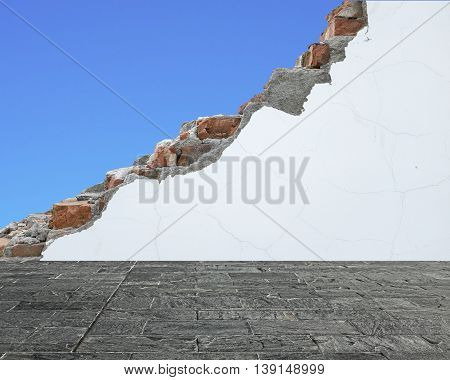 Marble Slab Floor With Crack White Bricks Wall And Blue Sky