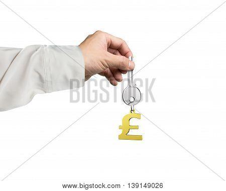 Hand Holding Silver Key With Golden Pound Symbol Shape Keyring