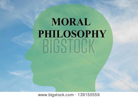 "Render illustration of ""MORAL PHILOSOPHY"" script on head silhouette with cloudy sky as a background. poster"