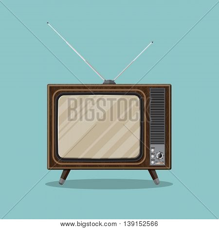 Vintage retro TV with antenna and empty screen in wooden case. vector illustration in flat style isolated on green background