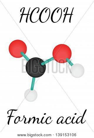 HCOOH formic acid 3d molecule isolated on white
