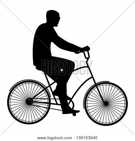 Summer activities male cyclist resting flat style