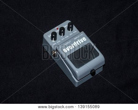 Effects Guitar Pedal Overdrive, on black background