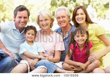 Kiterjesztett csoport portréja családi élvező nap a parkban