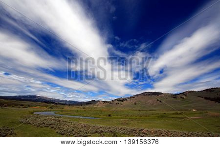 View of Slough Creek in the Lamar Valley of Yellowstone National Park
