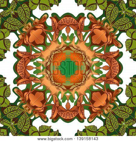 Mandala round ornament tribal ethnic pattern arabic Indian motif isolated decorative element for card design