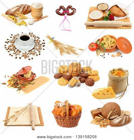 collage of bread pasta cakes and biscuits isolated on white background