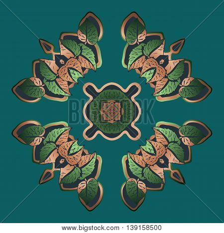 Decorative elements vector color pattern lace green mandala on a dark background