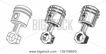 Metallic gear piston car engine part set of vector illustrations automobile repair service transport maintenance vintage graphics steel cylinder