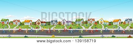 People riding bicycles on the street of a colorful suburb neighborhood.