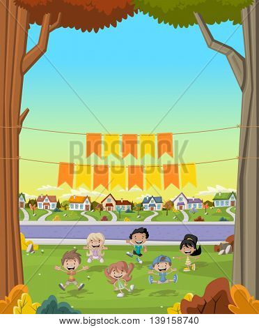 Banner over cartoon kids in suburb neighborhood. Green park landscape with grass, trees, and houses.