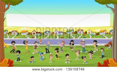 Banner over cartoon people in suburb neighborhood. Green park landscape with grass, trees, and houses.