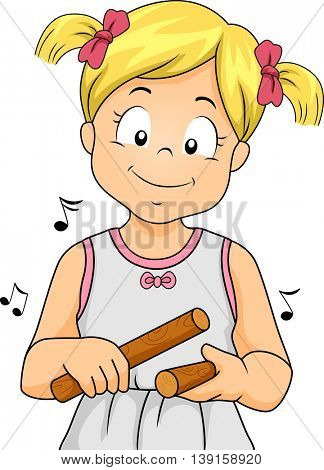 Illustration of a Little Girl Playing with Claves