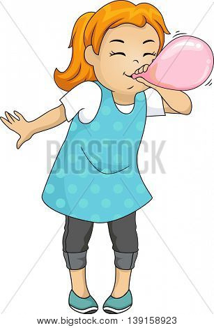 Illustration of a Little Girl Inflating a Balloon
