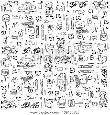 Back to school doodles set vector stock
