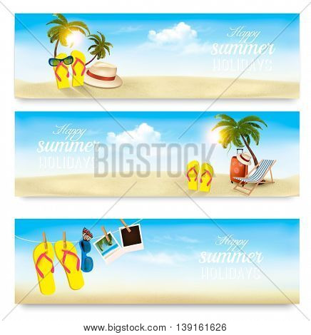 Three summer vacation banners. Vector
