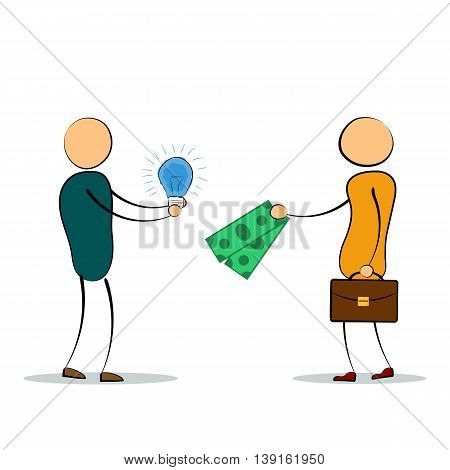 Vector cartoon illustration of two men with idea lamp and money fee for it. Concept of successful employee good idea value proposition