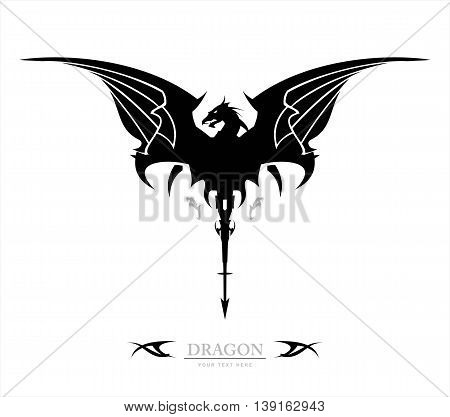 Black Dragon, Dragon, spreading its wing. Dragon with the arrow tail