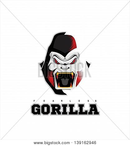 Gorilla. Gorilla face. Gorilla head on the white background with the light effect from side.