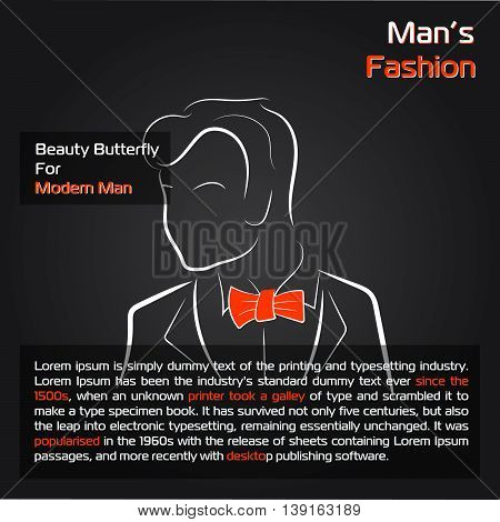 Vector illustration. Handdrawing. Silhouette man with orange bow tie on black background. Banner or card template for mans wear shop or salon. For sale card. Hipster style