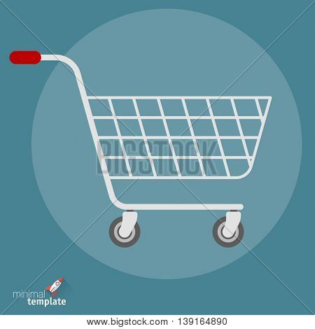 Flat design vector shopping cart icon  for application interface, presentation, web design and mobile app. Concept for online shopping, checkout, store and retail.
