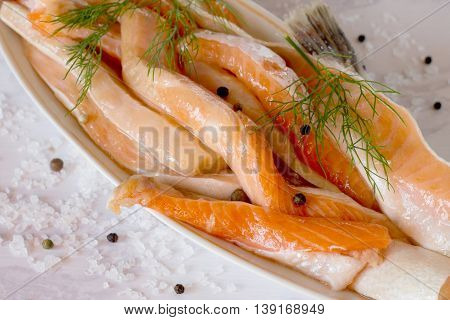 Delicious Portion Of Fresh Salmon Fillet With Aromatic Herbs And Spices - A Healthy Diet, Diet, Or T