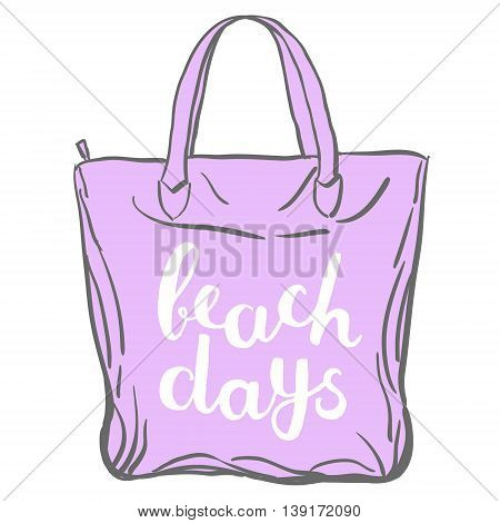 Beach days. Brush hand lettering. Handwritten words on a sample tote bag. Great for beach tote bags, swimwear, holiday clothes, mugs, home decor and more.